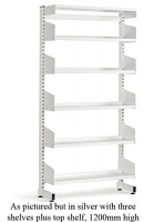LibraryShelvingSingleSided3ShelfSilver