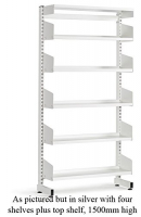 LibraryShelvingSingleSided4ShelfSilver